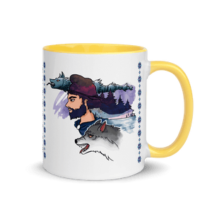Mugs The Dacian Warrior & The Spirit of the White Wolf | Coffee Mug with Color Inside 𝔅 ♘ ℞ ScarletterDesign Yellow