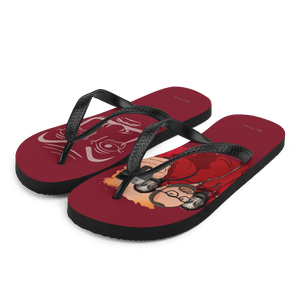 Flip Flop Red2 Flip-Flops  Cartoon Yourself In LA CASA STYLE | Personalised Cartoon | Hand Drawn Custom Design 𝔅 ♘ ℞ ScarletterDesign L