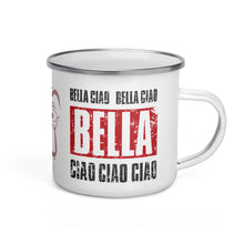 Load image into Gallery viewer, Enamel Mug BELLA CIAO Vintage print & Mask | Coffee Cup - 12oz