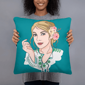 Pillow Custom Cartoon Design Hand Drawn Personalised WaterGreen Basic Pillow | Cartoon Yourself 𝔅 ♘ ℞ ScarletterDesign