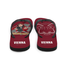 Load image into Gallery viewer, Flip Flop Red2 Flip-Flops  Cartoon Yourself In LA CASA STYLE | Personalised Cartoon | Hand Drawn Custom Design 𝔅 ♘ ℞ ScarletterDesign S