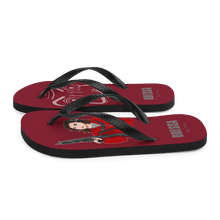 Load image into Gallery viewer, Flip Flop Red2 Flip-Flops  Cartoon Yourself In LA CASA STYLE | Personalised Cartoon | Hand Drawn Custom Design 𝔅 ♘ ℞ ScarletterDesign