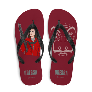 Flip Flop Red2 Flip-Flops  Cartoon Yourself In LA CASA STYLE | Personalised Cartoon | Hand Drawn Custom Design 𝔅 ♘ ℞ ScarletterDesign M
