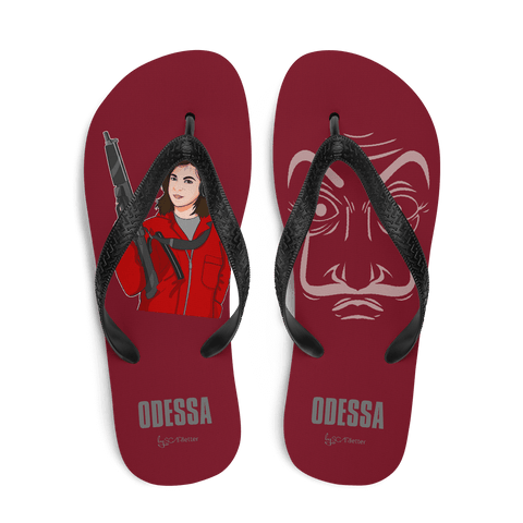 flip flop red2 rifle cartoon la casa de papel style scarletter