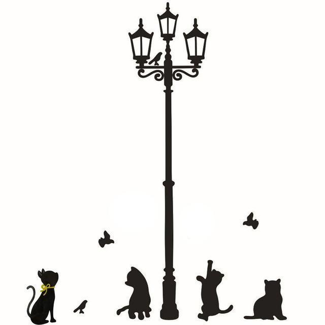 1pc Wall Sticker Cats Street Lamp Lights Stickers - Outletfy