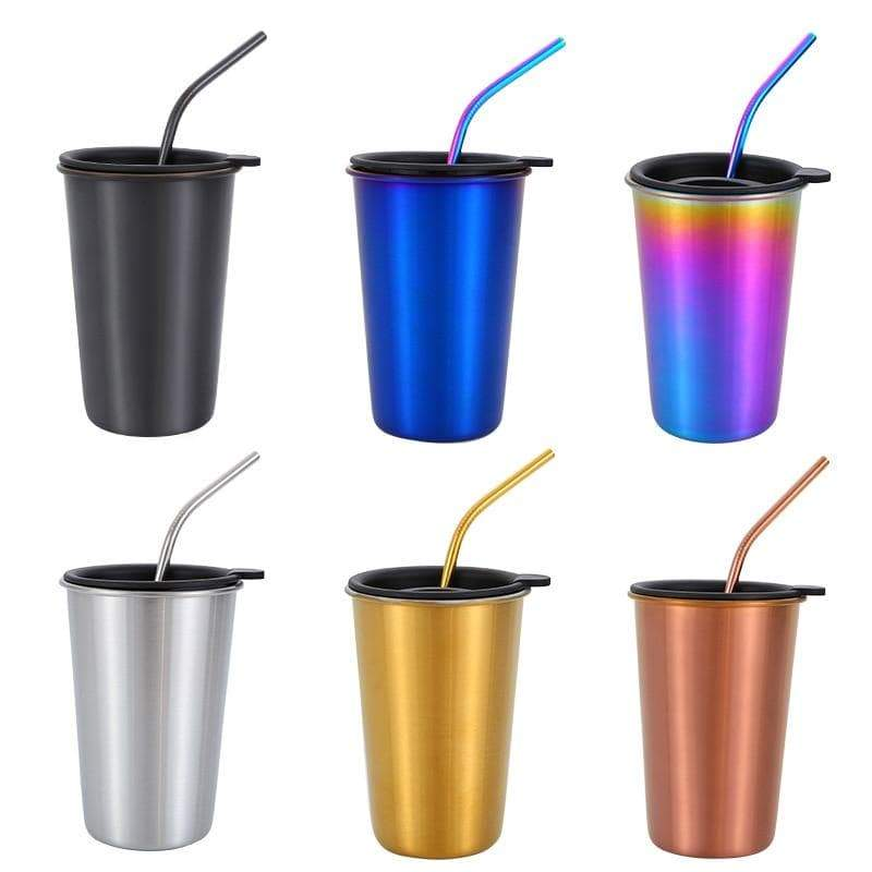 500ml 304 Stainless Steel Coffee Mugs Metal Straw Reusable Tumbler Pint Outdoor Camping Travel Mug Drinking Juice Tea Beer Cups