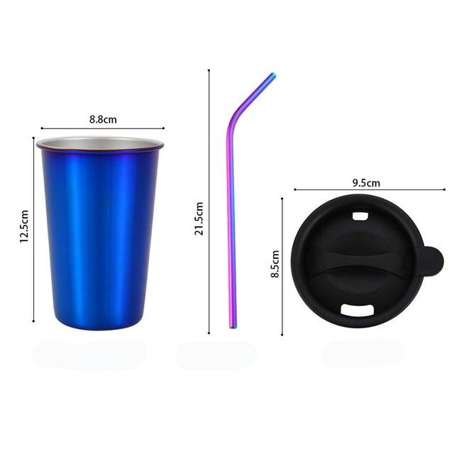 500ml 304 Stainless Steel Coffee Mugs Metal Straw Reusable Tumbler Pint Outdoor Camping Travel Mug Drinking Juice Tea Beer Cups blue sets