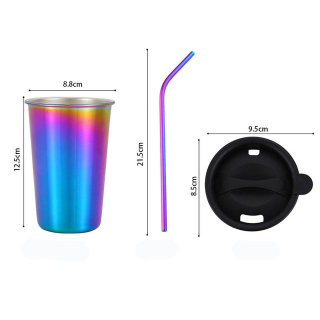 500ml 304 Stainless Steel Coffee Mugs Metal Straw Reusable Tumbler Pint Outdoor Camping Travel Mug Drinking Juice Tea Beer Cups colorful set