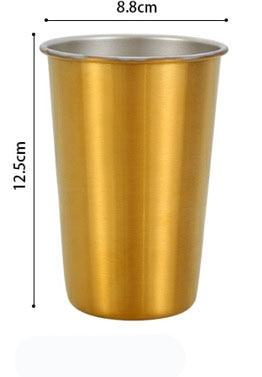 500ml 304 Stainless Steel Coffee Mugs Metal Straw Reusable Tumbler Pint Outdoor Camping Travel Mug Drinking Juice Tea Beer Cups gold mug