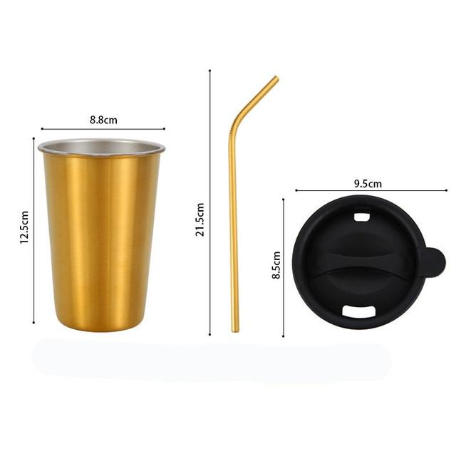 500ml 304 Stainless Steel Coffee Mugs Metal Straw Reusable Tumbler Pint Outdoor Camping Travel Mug Drinking Juice Tea Beer Cups gold sets
