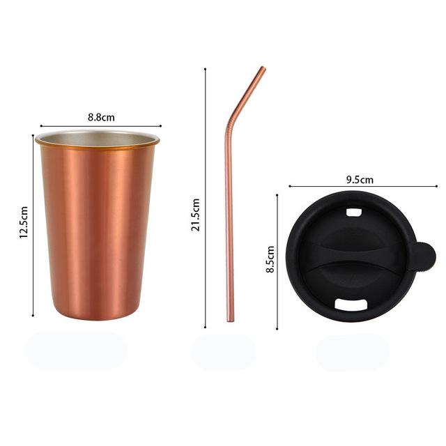 500ml 304 Stainless Steel Coffee Mugs Metal Straw Reusable Tumbler Pint Outdoor Camping Travel Mug Drinking Juice Tea Beer Cups rose gold sets