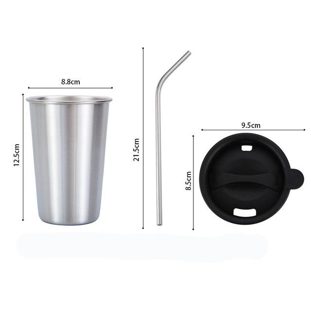 500ml 304 Stainless Steel Coffee Mugs Metal Straw Reusable Tumbler Pint Outdoor Camping Travel Mug Drinking Juice Tea Beer Cups silver sets