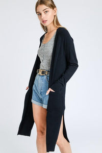Black Cardigan with Pockets - Outletfy