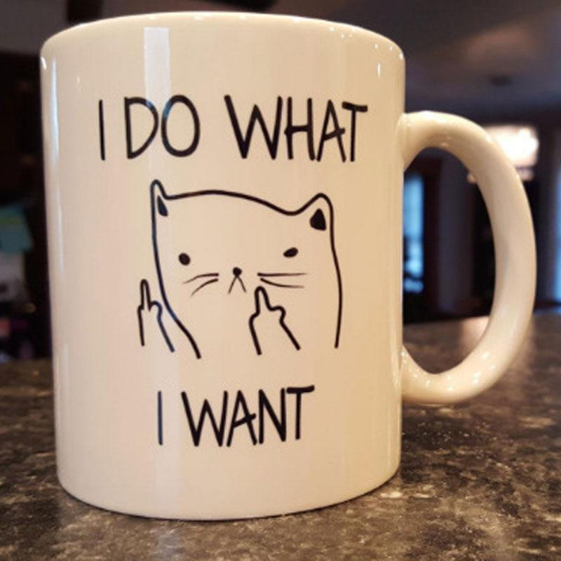 Cat I DO WHAT I WANT Middle Finger Funny Mugs Creative Coffee Mugs Ceramic Cup For Coffee Tea Milk