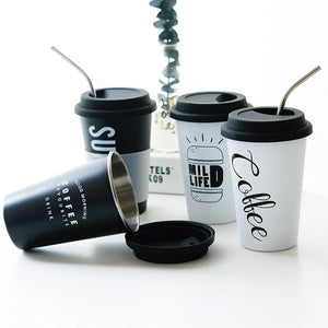 Coffee Mugs Thickened Stainless Steel Coffee With Lid Straws