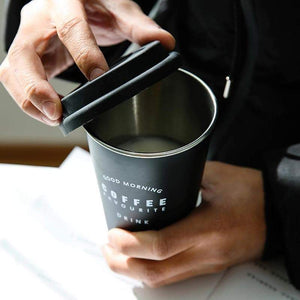 Coffee Mugs Thickened Stainless Steel Coffee Mugs Tea Cups Big Travel Mug Camping Mugs Coffee Cup With Lid Straws 350ml