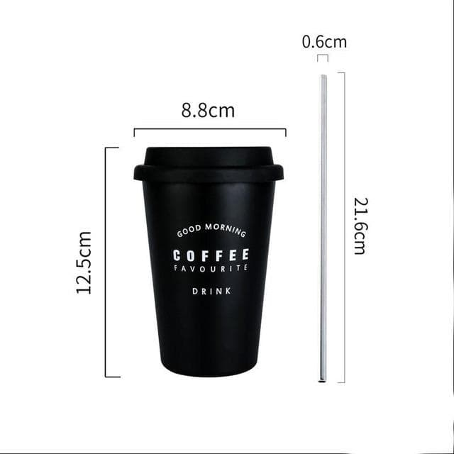 Coffee Mugs Thickened Stainless Steel Coffee Mugs Tea Cups Big Travel Mug Camping Mugs Coffee Cup With Lid Straws 350ml Black coffee