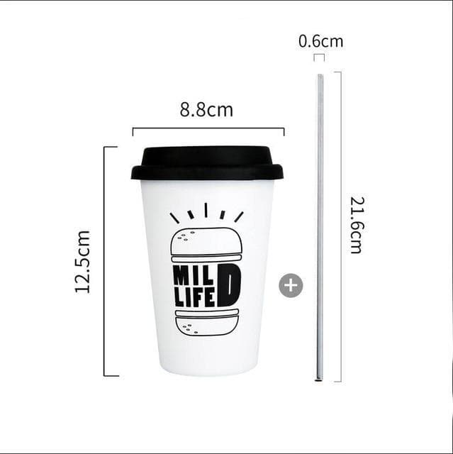 Coffee Mugs Thickened Stainless Steel Coffee Mugs Tea Cups Big Travel Mug Camping Mugs Coffee Cup With Lid Straws 350ml Hamburger