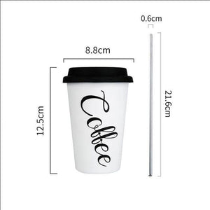 Coffee Mugs Thickened Stainless Steel Coffee Mugs Tea Cups Big Travel Mug Camping Mugs Coffee Cup With Lid Straws 350ml White  coffee