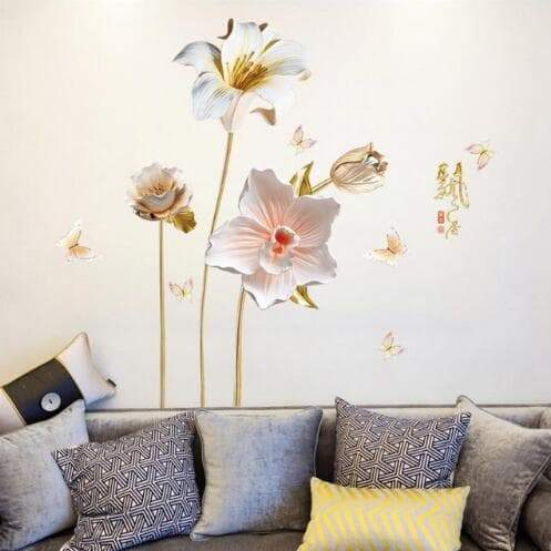 Flower 3D Wallpaper Wall Stickers Decor
