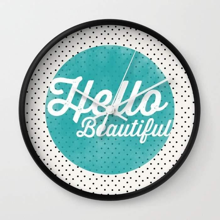 Hello Beautiful Teal Dots typography Wall clock - Outletfy