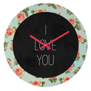 I LOVE YOU FLORAL WALL CLOCK - Outletfy