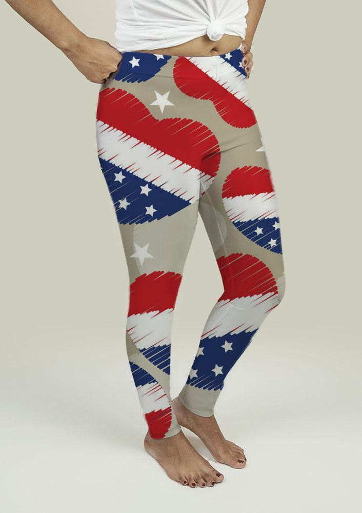 Leggings with American Independence Day Pattern - Outletfy