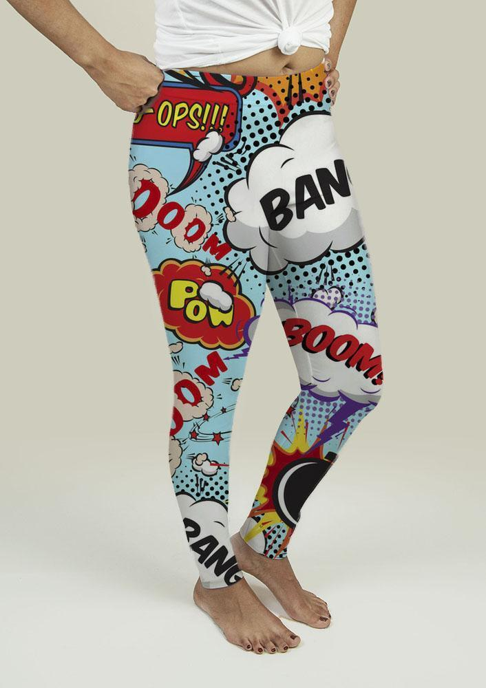 Leggings with Comic Speech Bubbles - Outletfy