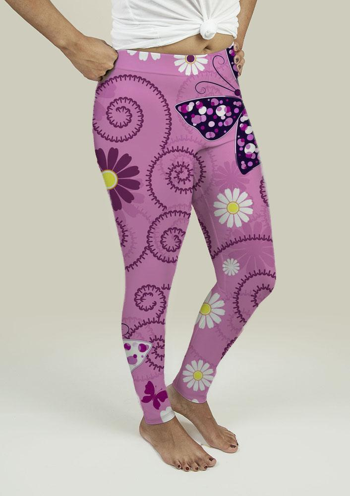 Leggings with Pink Floral Pattern - Outletfy