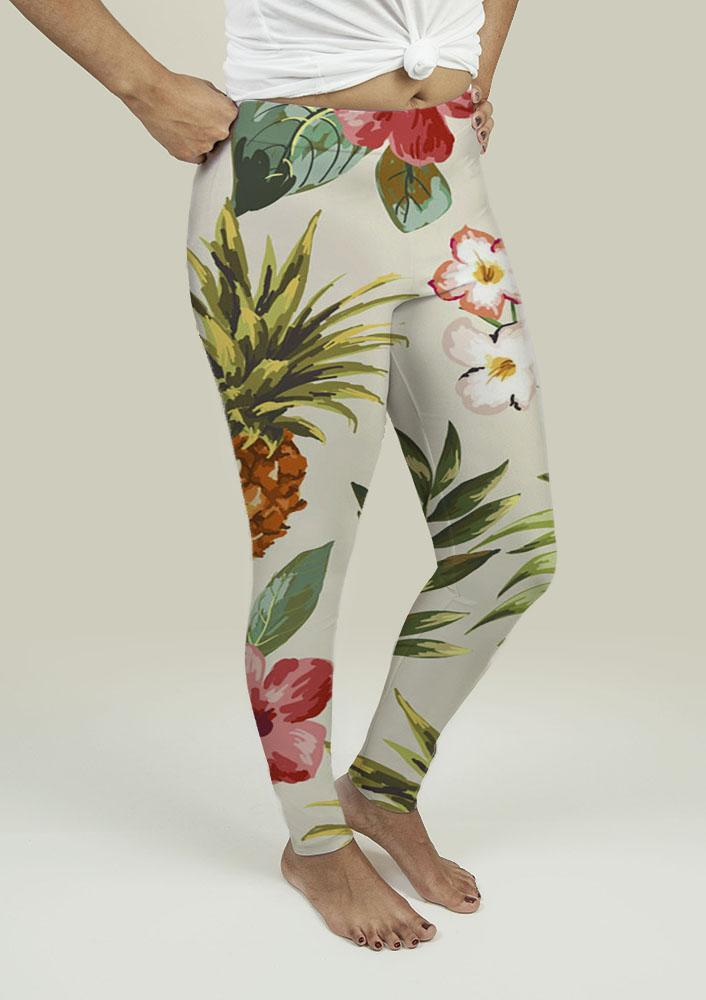 Leggings with Tropical flowers with pineapple - Outletfy