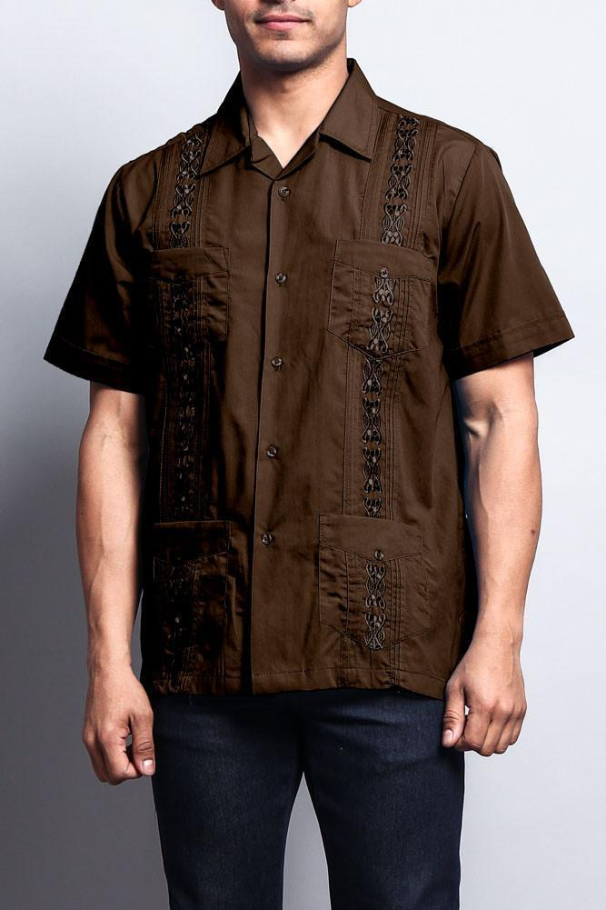 Men's Short Sleeve Cuban Style Guayabera Shirt - Outletfy
