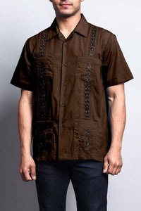 Men's Short Sleeve Cuban Style Guayabera Shirt 2X-Large / Coffee