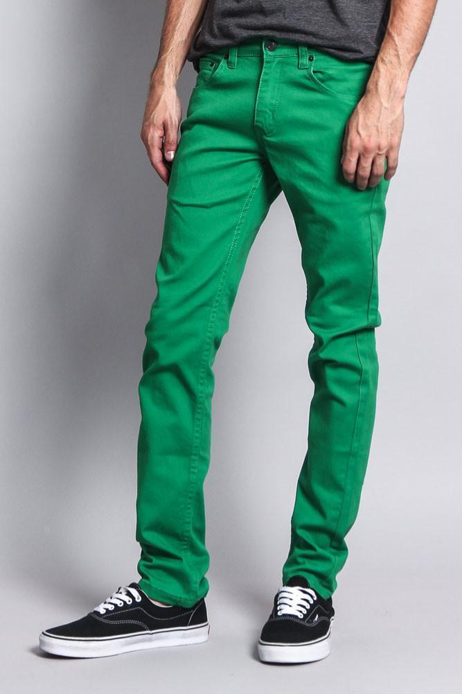 Men's Skinny Fit Colored Jeans (Kelly Green) - Outletfy