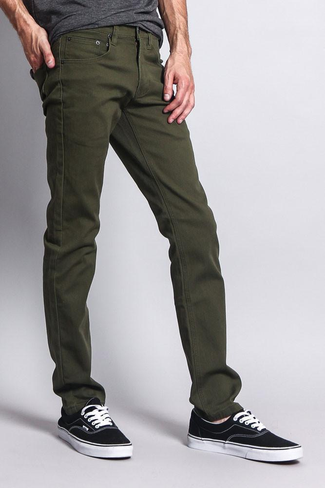 Men's Skinny Fit Colored Jeans (Olive) - Outletfy