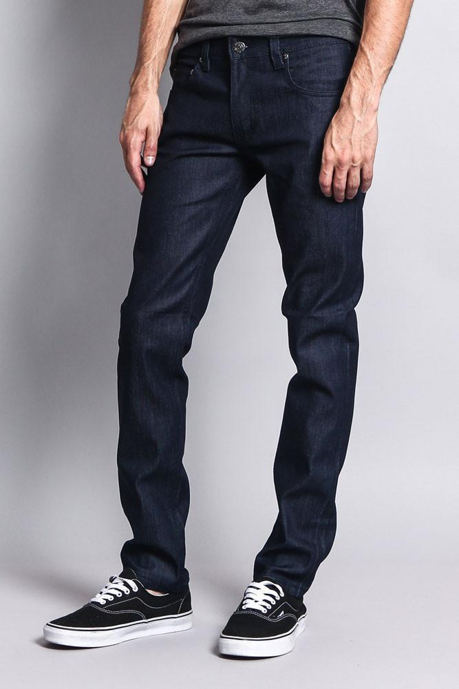 Men's Skinny Fit Raw Denim Jeans (Indigo) - Outletfy