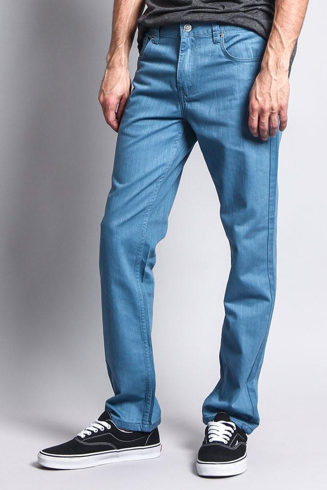 Men's Slim Fit Colored Denim Jeans (French Blue) - Outletfy