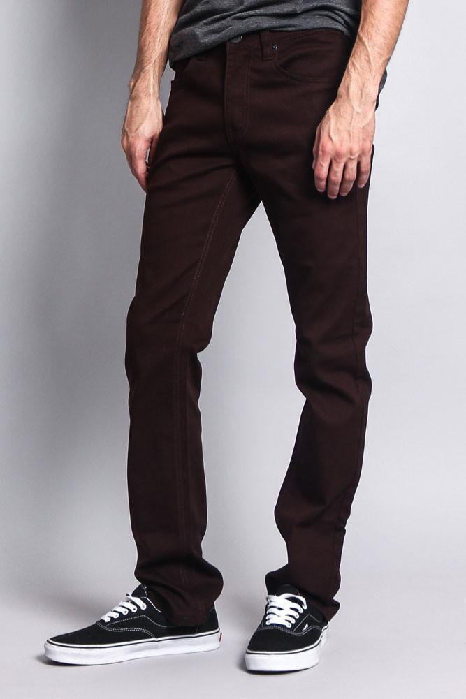 Men's Slim Fit Colored Jeans (Brown) - Outletfy