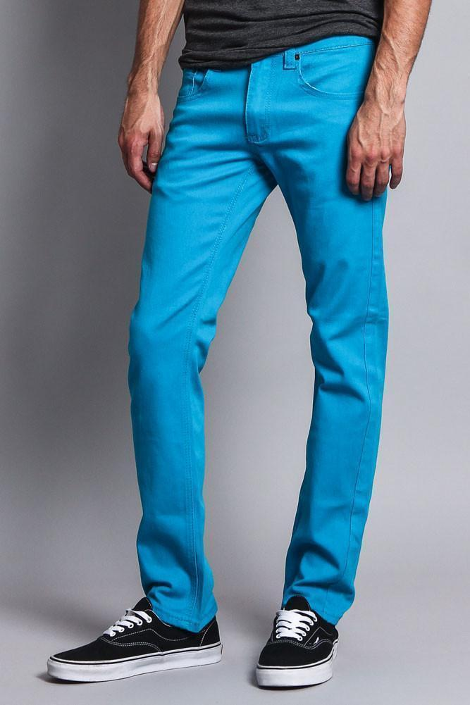 Men's Slim Fit Colored Jeans (Turquoise) - Outletfy
