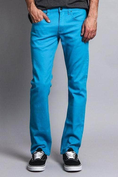 Men's Slim Fit Colored Jeans (Turquoise) 28/30 / Turquoise