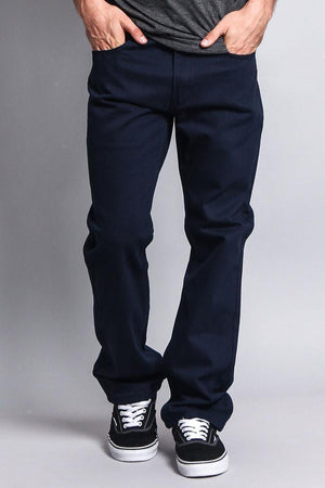 Men's Straight Fit Colored Denim Jeans (Navy) - Outletfy