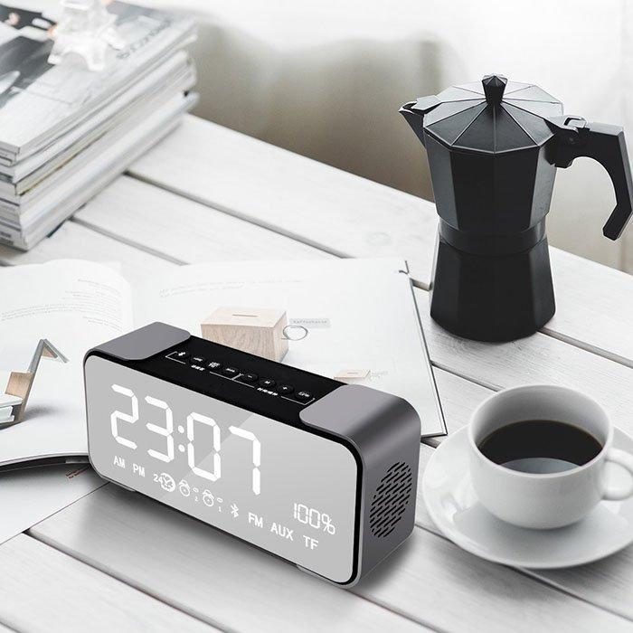 Mirror Bluetooth Speaker Alarm Clock - Outletfy