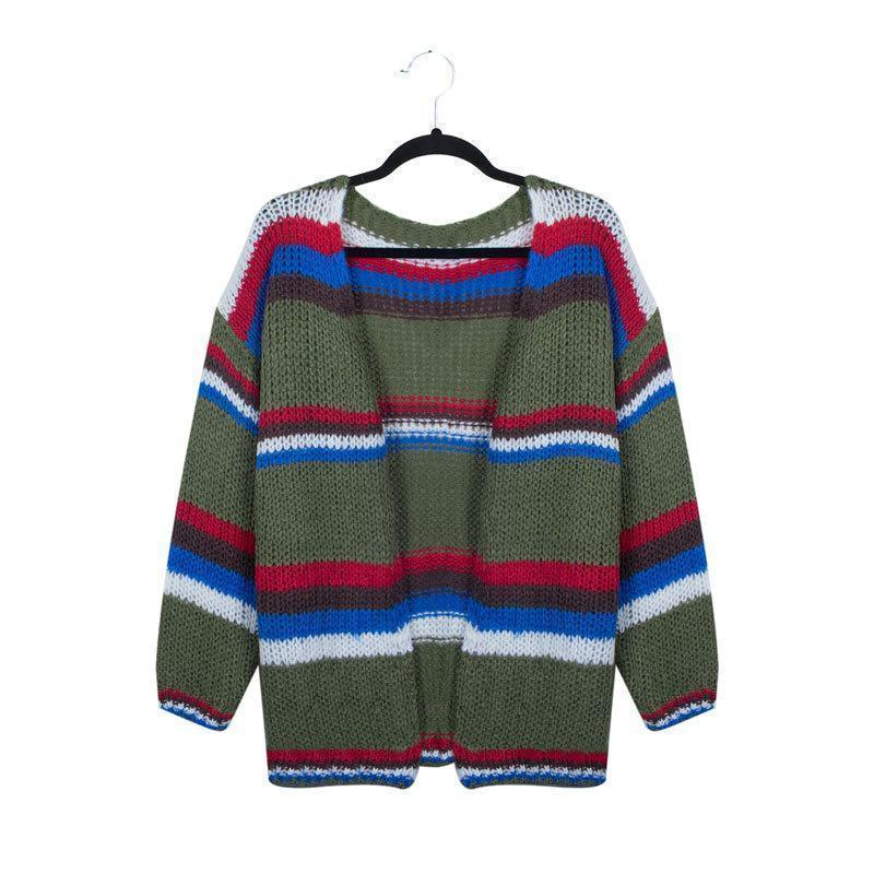 Patchwork Color Knitted Sweater Cardigan - Outletfy