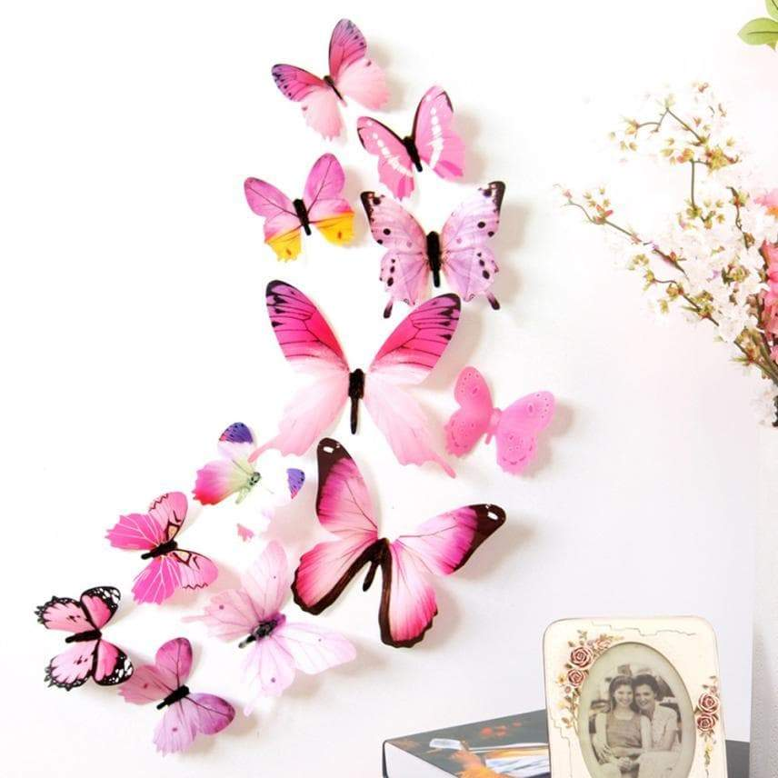 Qualified Wall Stickers 12pcs Decal Wall Stickers Home Decorations 3D Butterfly Rainbow PVC Wallpaper for living room - Outletfy