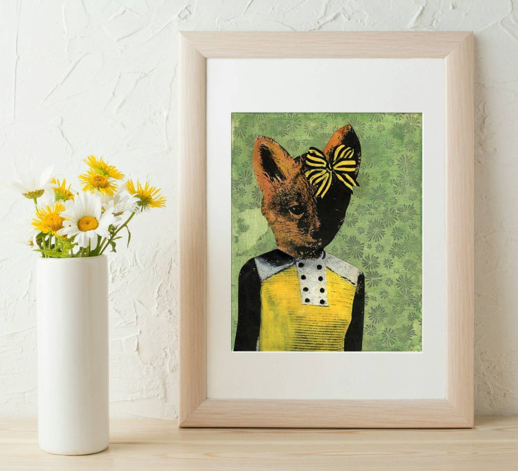 Retro Fox with Bow Art Print - Outletfy
