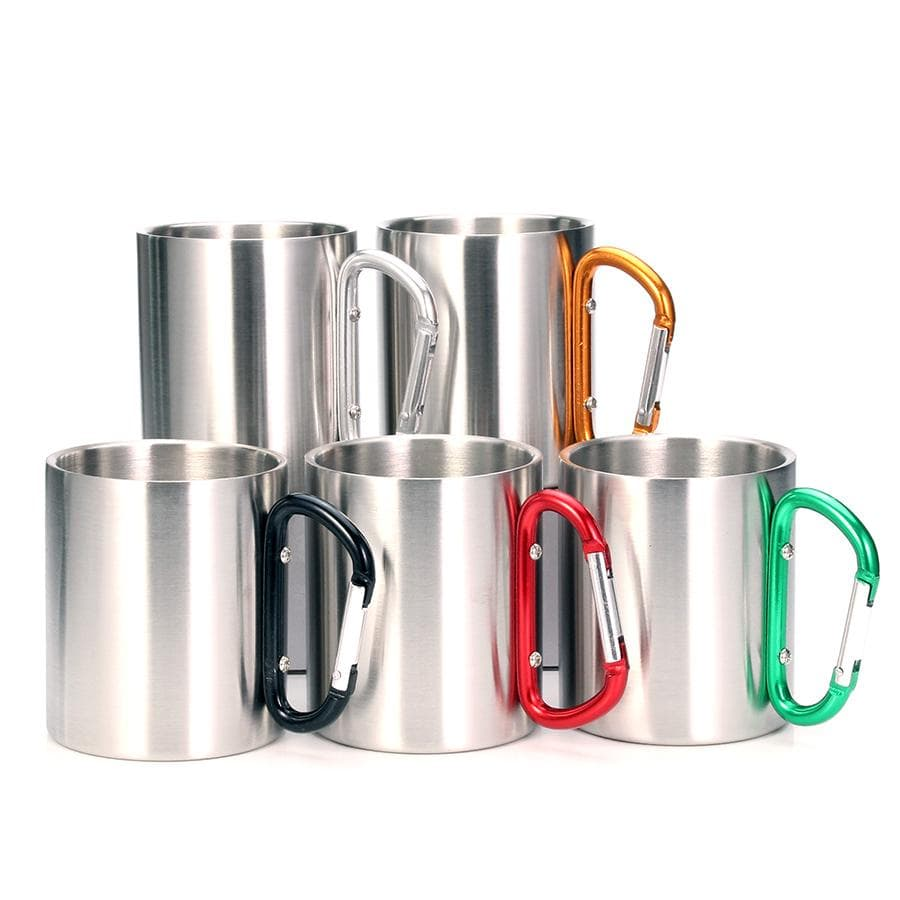 Stainless Steel Double Walled Mug with Carabiner Handle - Portable Rockclimbing, Hiking, Backpacking or Camping Travel Cup 10 oz