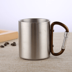 Stainless Steel Double Walled Mug with Carabiner Handle - Portable Rockclimbing, Hiking, Backpacking or Camping Travel Cup 10 oz Coffee / 201-220ml