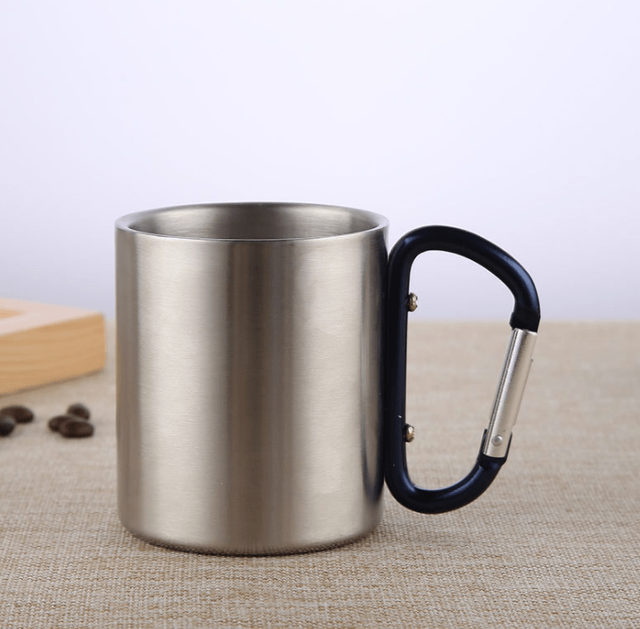 Stainless Steel Double Walled Mug with Carabiner Handle - Portable Rockclimbing, Hiking, Backpacking or Camping Travel Cup 10 oz Dark Blue / 201-220ml