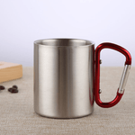 Stainless Steel Double Walled Mug with Carabiner Handle - Portable Rockclimbing, Hiking, Backpacking or Camping Travel Cup 10 oz Red / 201-220ml
