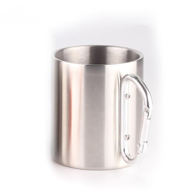 Stainless Steel Double Walled Mug with Carabiner Handle - Portable Rockclimbing, Hiking, Backpacking or Camping Travel Cup 10 oz Silver / 201-220ml