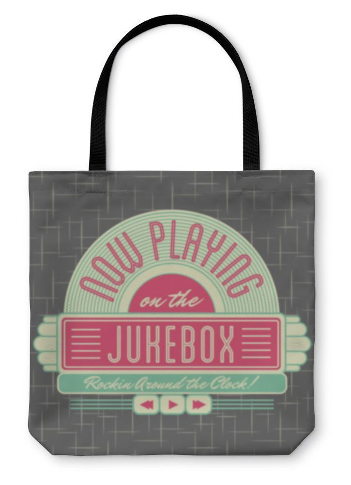 Tote Bag, 1950s Jukebox Style Logo Design - Outletfy